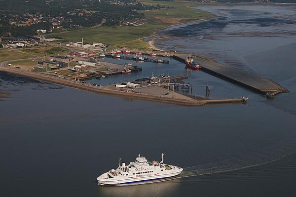 Syltferry at the harbor Havneby from aerial view at departure.